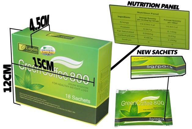 Обратите внимание на параметры упаковки зеленого кофе торговой марки Leptin.